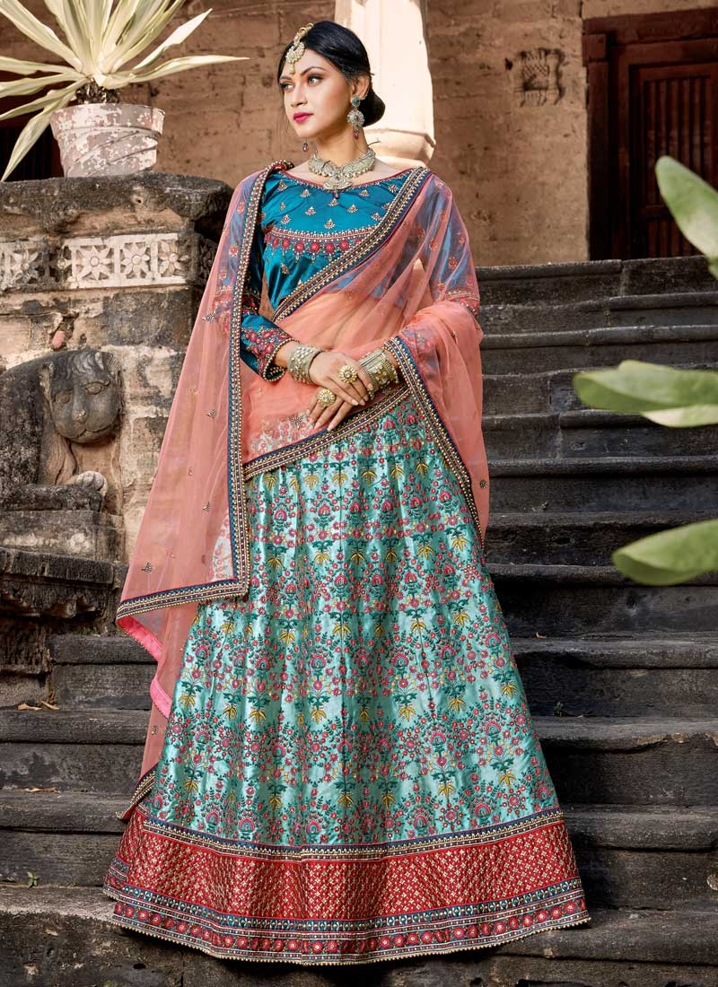 Beads Work A - Line Lehenga For Bridal