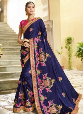Beads Work Art Silk Contemporary Style Saree