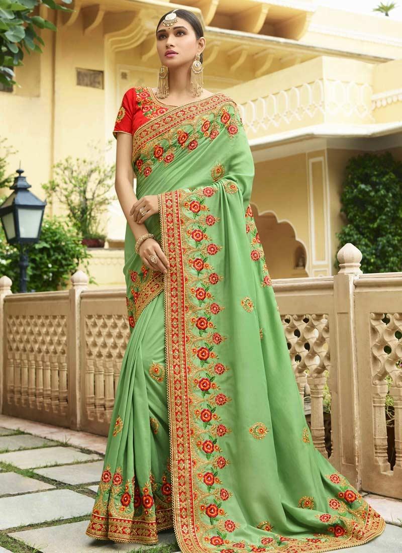 Beads Work Art Silk Designer Contemporary Style Saree