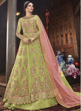Beads Work Art Silk Designer Kameez Style Lehenga Choli