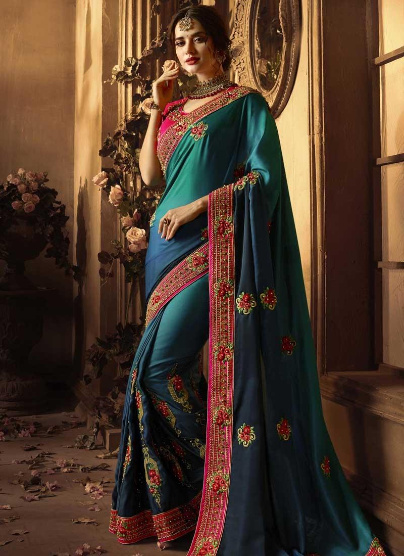 Beads Work Art Silk Designer Traditional Saree For Ceremonial
