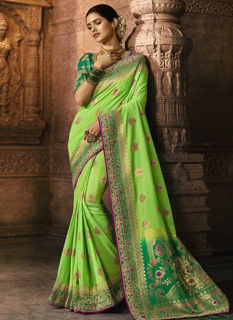 Beads Work Art Silk Traditional Designer Saree For Bridal