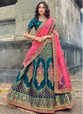Beads Work Banarasi Silk A Line Lehenga Choli