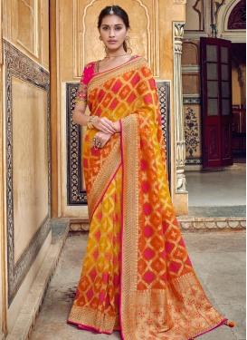 Beads Work Banarasi Silk Contemporary Style Saree For Bridal