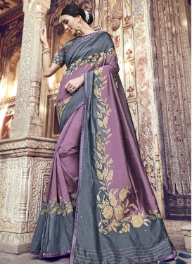 Beads Work Banarasi Silk Designer Contemporary Style Saree For Ceremonial