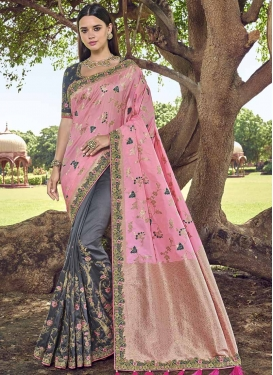 Beads Work Banarasi Silk Grey and Pink Half N Half Designer Saree