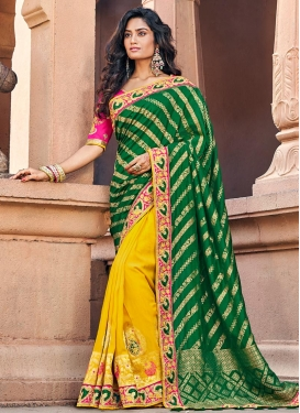 Beads Work Banarasi Silk Half N Half Trendy Saree