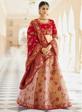 Beads Work Banarasi Silk Peach and Red Designer A Line Lehenga Choli