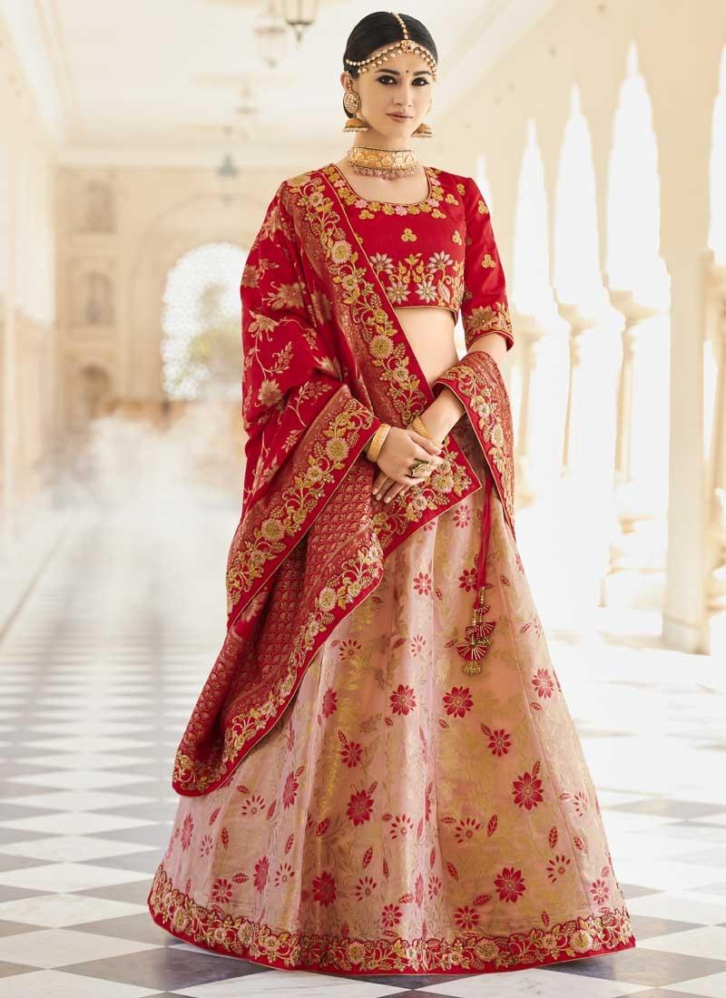 Beads Work Banarasi Silk Peach and Red Designer A Line Lehenga Choli