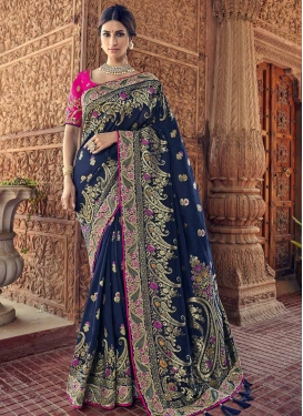 Beads Work Banarasi Silk Traditional Saree