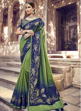 Beads Work Banarasi Silk Trendy Saree
