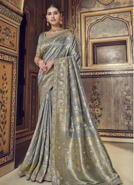 Beads Work Banarasi Silk Trendy Saree