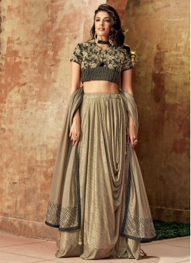 Beads Work Beige and Grey Trendy Designer Lehenga Choli