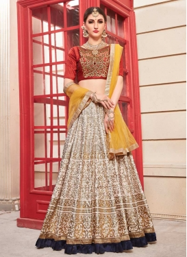 Beads Work Beige and Red A - Line Lehenga