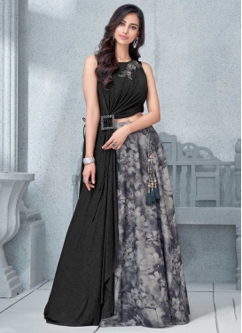 Beads Work Black and Grey Lycra Trendy Designer Lehenga Choli