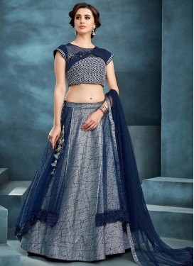 Beads Work Blue and Grey A Line Lehenga Choli