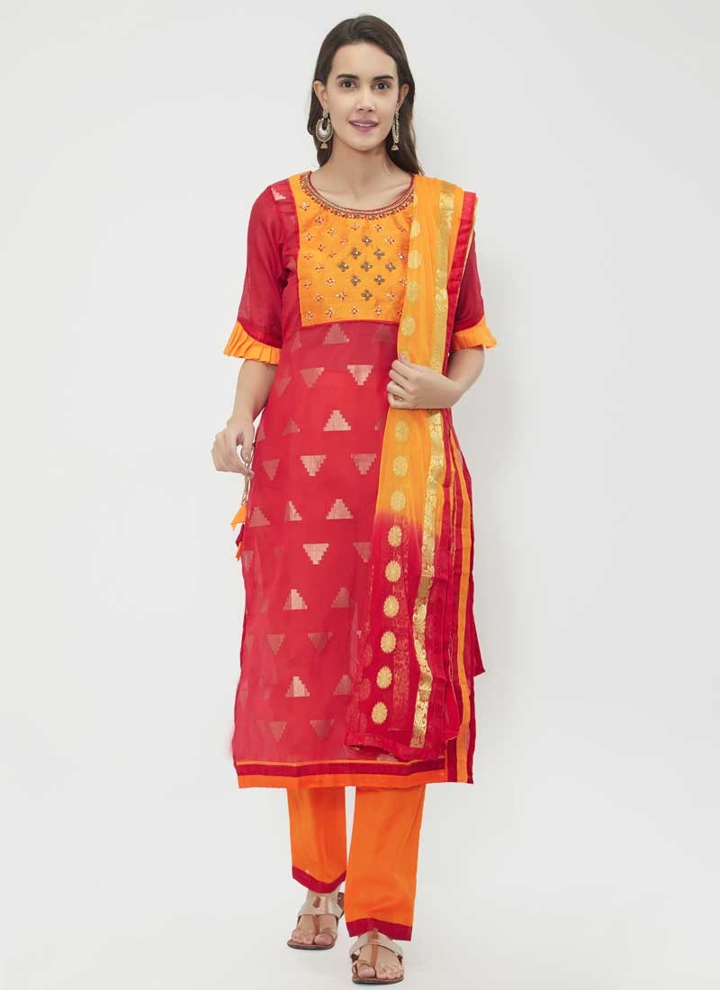 Beads Work Chanderi Cotton Orange and Rose Pink Pant Style Classic Suit