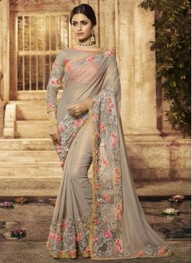 Beads Work Contemporary Saree
