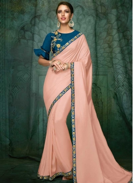 Beads Work Contemporary Saree