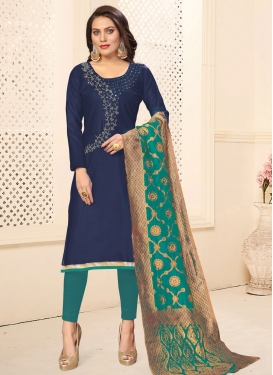 Beads Work Cotton Navy Blue and Teal Pant Style Classic Suit