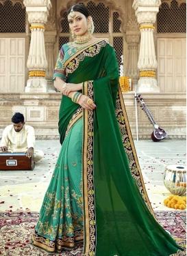 Beads Work Designer Half N Half Saree For Ceremonial