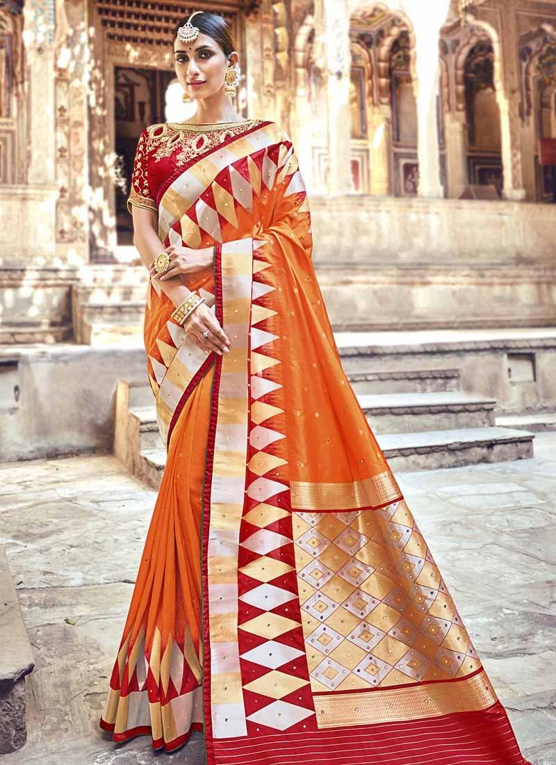 Beads Work Designer Traditional Saree For Festival