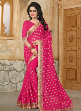 Beads Work Faux Georgette Contemporary Saree