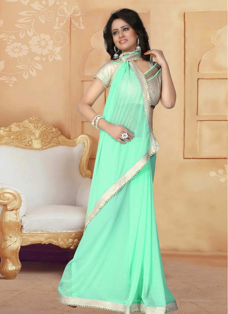 Beads Work Faux Georgette Traditional Saree