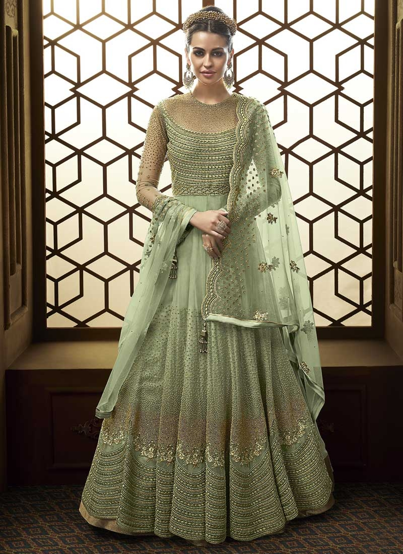Beads Work Floor Length Anarkali Salwar Suit