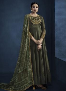 Beads Work Floor Length Anarkali Salwar Suit For Festival