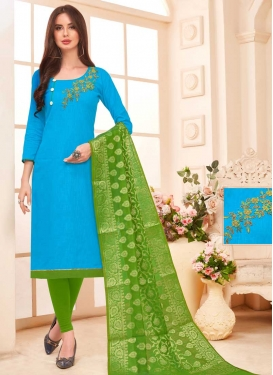 Beads Work Green and Light Blue Trendy Churidar Salwar Suit