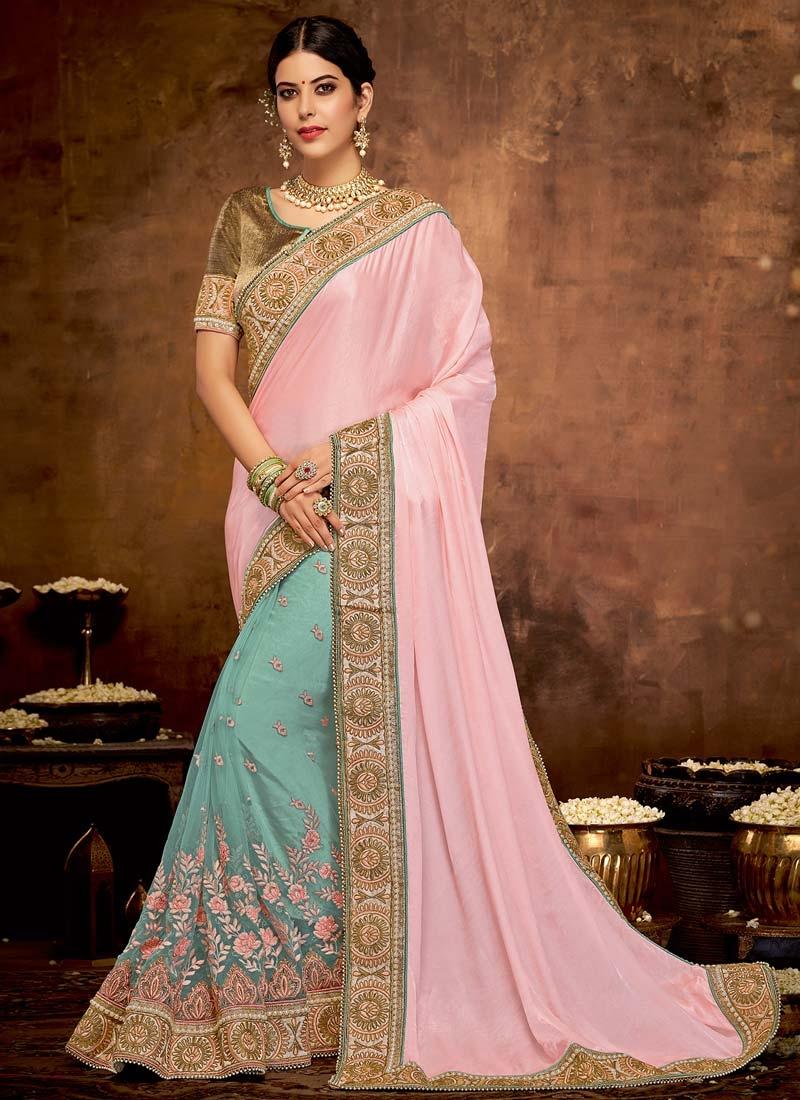 Beads Work Half N Half Saree