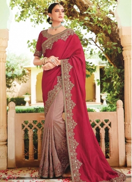 Beads Work Half N Half Saree For Bridal