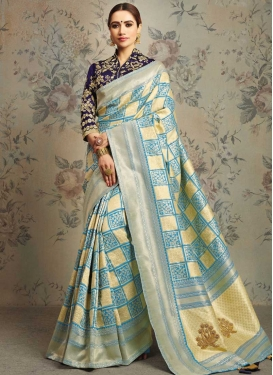 Beads Work Jacquard Silk Classic Saree