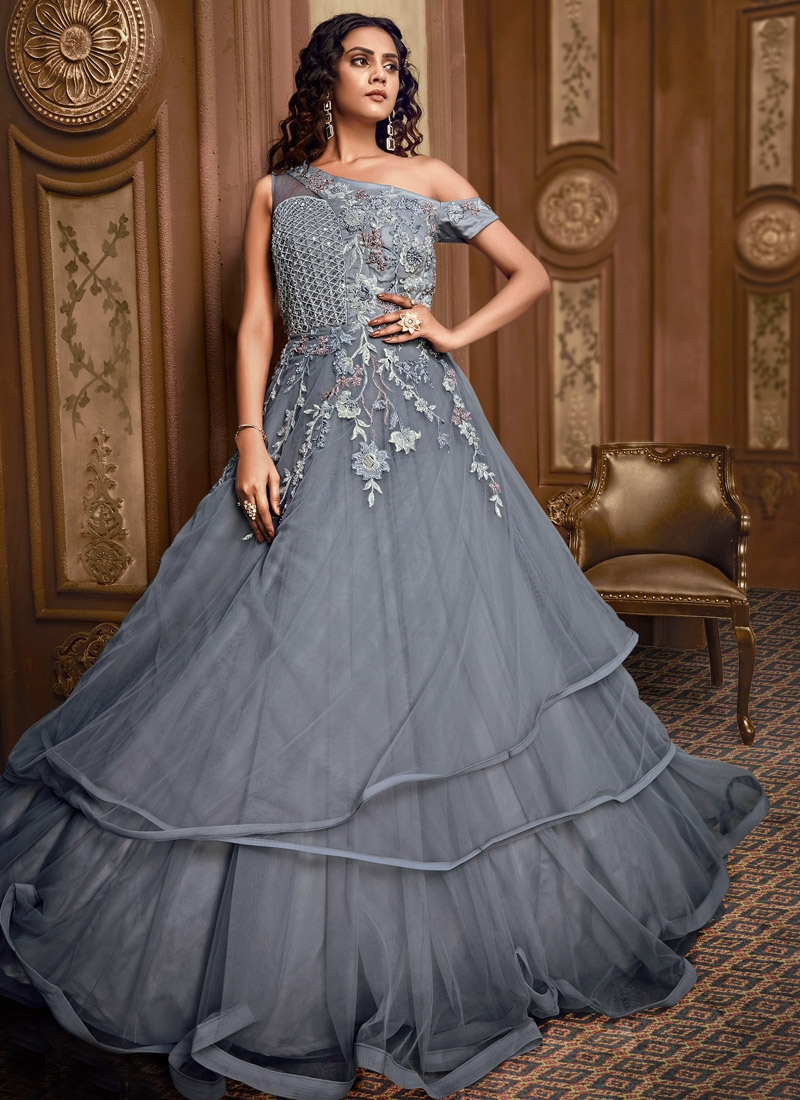 Beads Work Layered Designer Gown