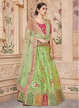 Beads Work Mint Green and Rose Pink Jacquard Silk Lehenga Choli