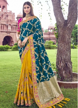 Beads Work Mustard and Teal Half N Half Designer Saree