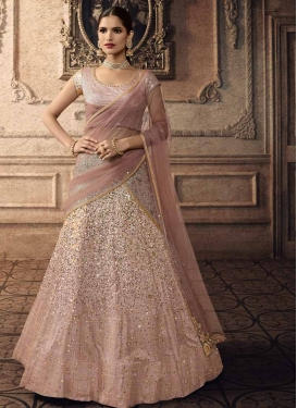 Beads Work Net A - Line Lehenga