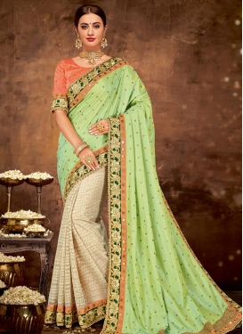 Beads Work Net Half N Half Designer Saree For Festival