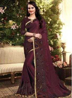 Beads Work Net Trendy Classic Saree