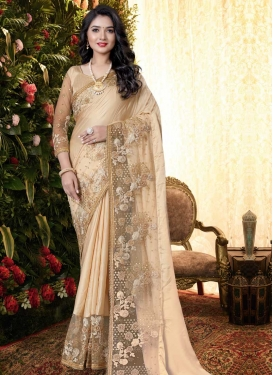 Beads Work Net Trendy Classic Saree