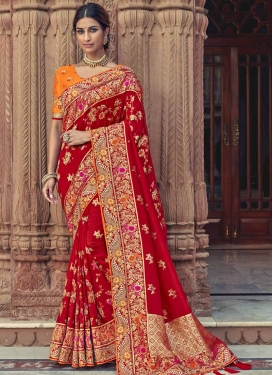 Beads Work Orange and Red Trendy Classic Saree
