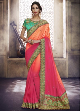 Beads Work Orange and Rose Pink Classic Saree