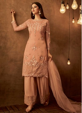 Beads Work Palazzo Straight Salwar Suit