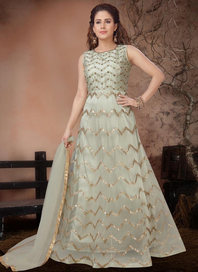 Beads Work Readymade Anarkali Salwar Suit