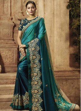 Beads Work Satin Silk Designer Contemporary Style Saree