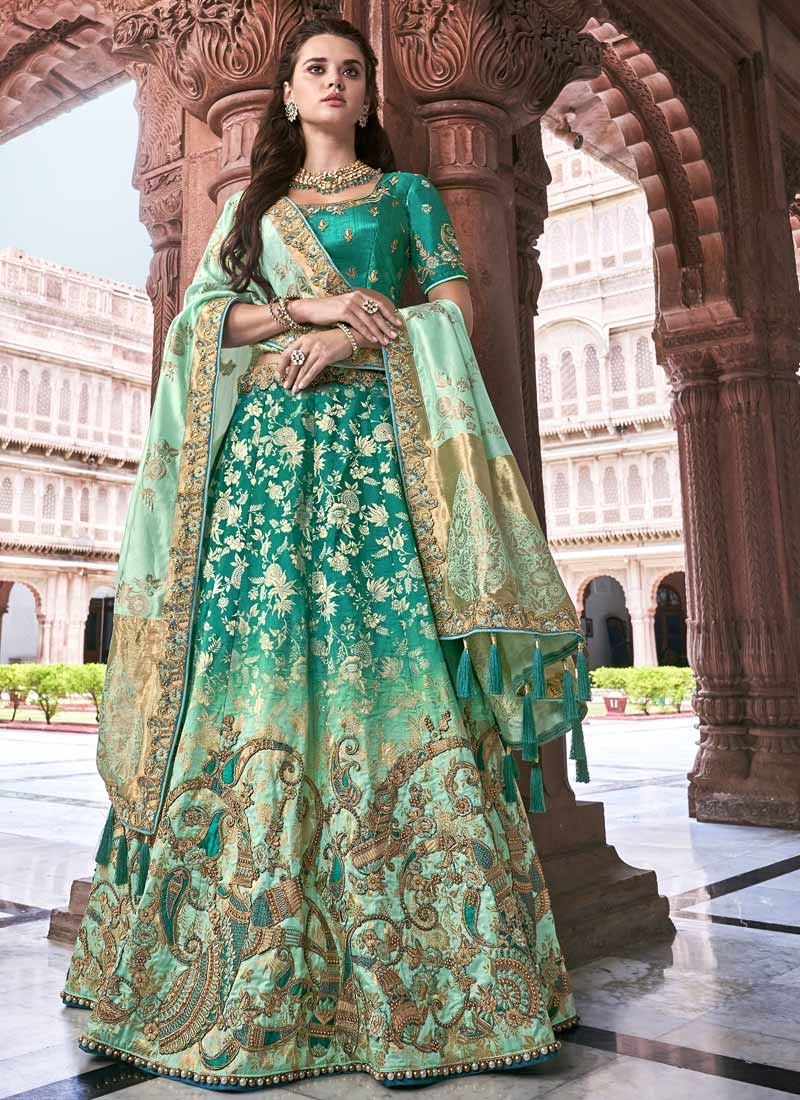 Beads Work Sea Green and Turquoise Silk Trendy Lehenga