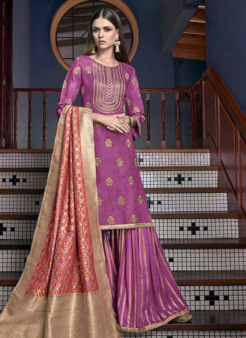 Beads Work Sharara Salwar Suit