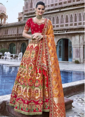 Beads Work Silk A - Line Lehenga