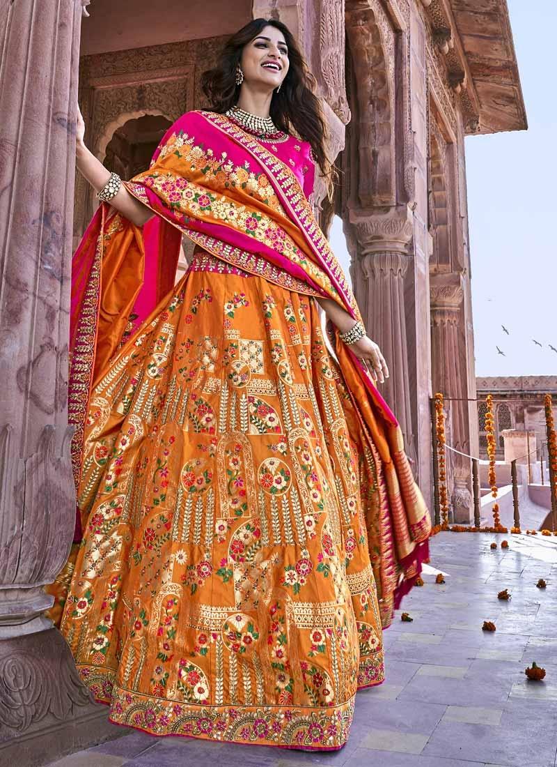 Beads Work Silk Orange and Rose Pink Trendy A Line Lehenga Choli